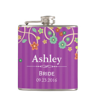Bride Bridesmaid Purple Swirl Floral Wedding Flask