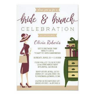 Bride & Bruch Shower Invitation, Burgundy, Green 13 Cm X 18 Cm Invitation Card