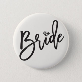 Bride Brush Diamond Wedding Bridal Party Button
