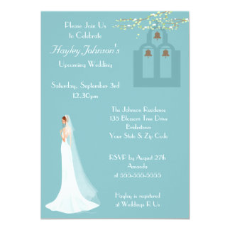 Bride, Church Steps & Bells Bridal Shower 5x7 Paper Invitation Card