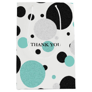 BRIDE & CO Blue And Black Polka Dot Party Gift Bag