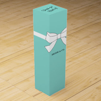BRIDE & CO Blue and White Bow Party Wine Box