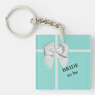 BRIDE & CO Blue & White Bow Bride to Be Key Chain