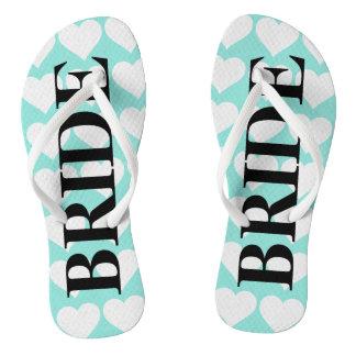 BRIDE & CO Bride Teal Blue Wedding Flip Flops