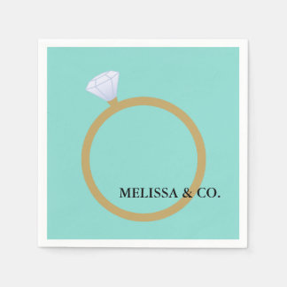 BRIDE & CO Diamond Ring Teal Blue Party Napkin Paper Serviettes