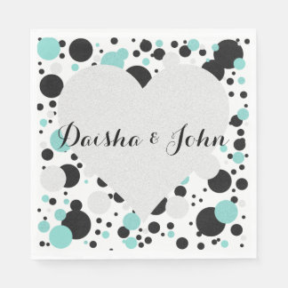 BRIDE & CO Heart Polka Dot Party Napkins Paper Napkins