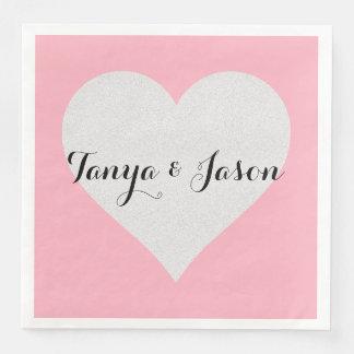 BRIDE & CO. Love Pink Heart Dinner Napkins Paper Napkin