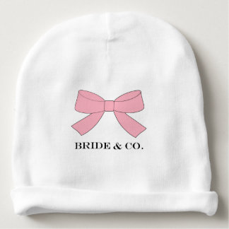 """BRIDE & CO Personalize Pink Bow Baby Beanie Hat"