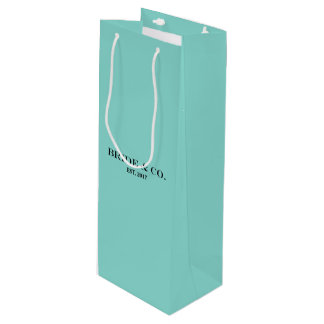 BRIDE & CO Shower Teal Blue Party Wine Bag