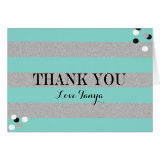 BRIDE & CO Teal And Silver Thank You Note Card