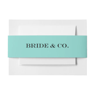 BRIDE & CO Teal Blue Invitation Belly Bands Invitation Belly Band