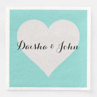 BRIDE & CO Tiffany Teal Blue Heart Dinner Napkins Disposable Napkin
