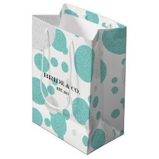 BRIDE & CO Tiffany Teal Blue Polka Dot Favor Bag