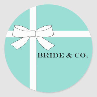 BRIDE & CO White And Blue Shower Party Stickers