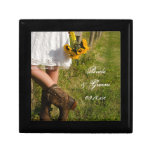 Bride, Cowboy Boots and Sunflowers Ranch Wedding Small Square Gift Box