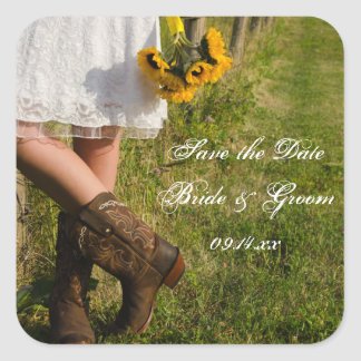 Bride, Cowboy Boots and Sunflowers Save the Date Square Sticker