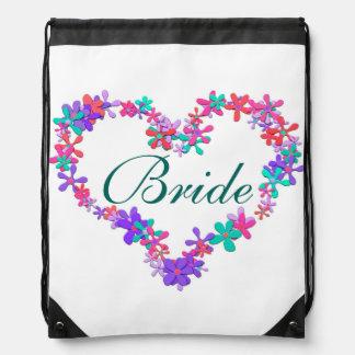 BRIDE cute floral monogram heart Drawstring Bag