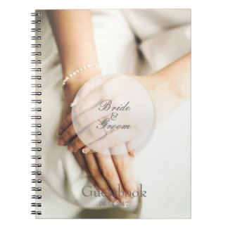 Bride diamond ring editable wedding guest book spiral notebooks