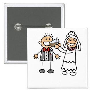 Bride Feeds Groom 15 Cm Square Badge