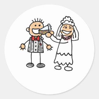 Bride Feeds Groom Round Sticker