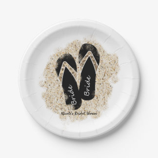 Bride Flip Flop Sandals Summer Beach Bridal Shower Paper Plate