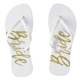 Bride Flip Flops with Gold Foil Typography