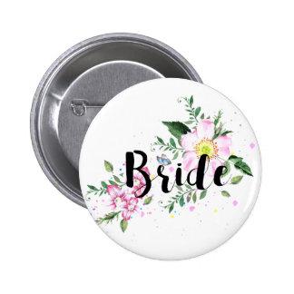 Bride Floral Watercolor Wedding 6 Cm Round Badge