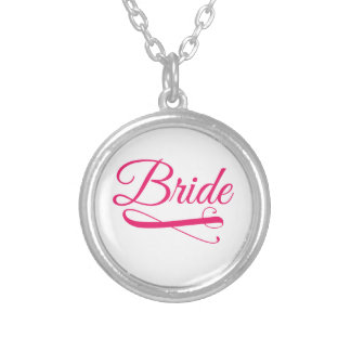 Bride Flourish Hot Pink Silver Plated Necklace