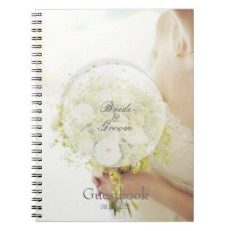 Bride flower bouquet editable wedding guest book spiral note book