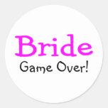 Bride Game Over Round Sticker