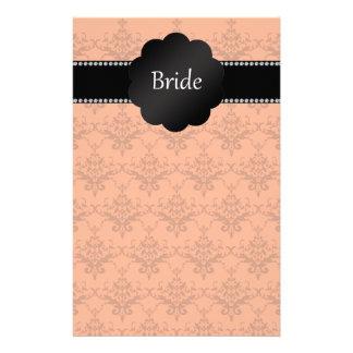 Bride gifts orange damask stationery design