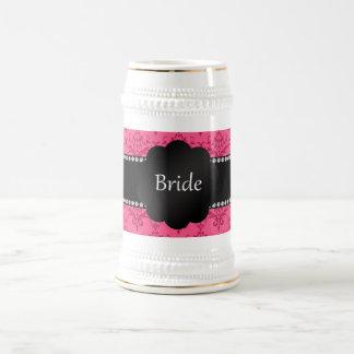Bride gifts pink damask beer stein