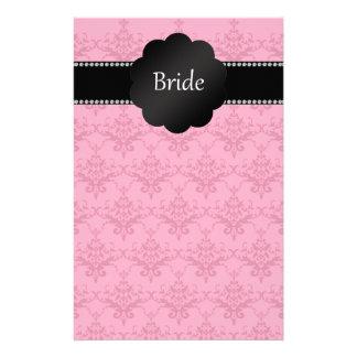 Bride gifts pink damask stationery paper