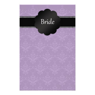 Bride gifts purple damask customized stationery