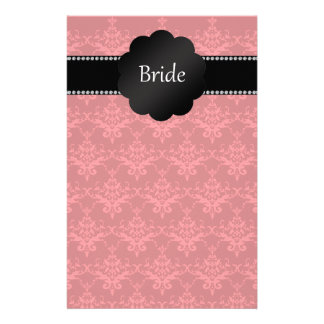 Bride gifts red damask customized stationery