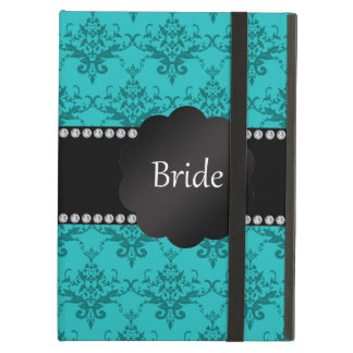 Bride gifts turquoise damask iPad cases