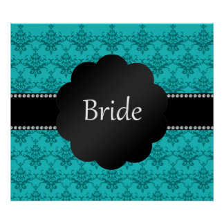 Bride gifts turquoise damask posters