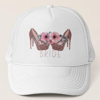 Bride | Glitter High Heels Pink Floral Trucker Hat