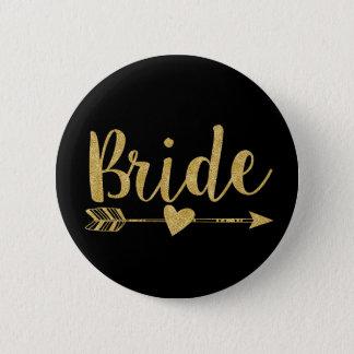 Bride | Glitter-Print Golden 6 Cm Round Badge