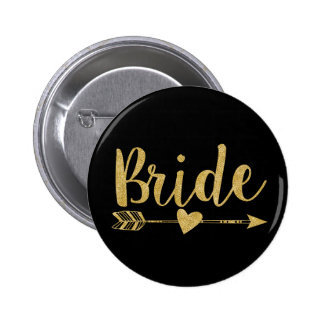 Bride | Glitter-Print Golden 6 Cm Round Badge