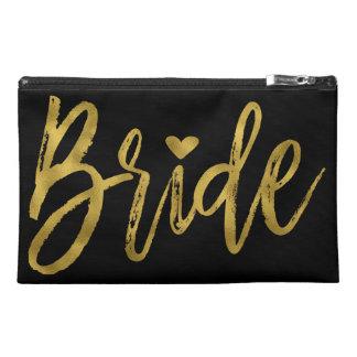 Bride Gold & Black Bachelorette Party Survival Kit Travel Accessory Bag