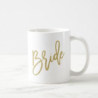 Bride Gold Glitter Script Basic White Mug