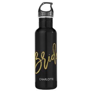 Bride Gold Glitter Script Personalized 710 Ml Water Bottle