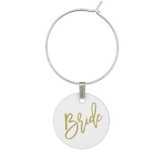 Bride Gold Glitter Script Wine Charm