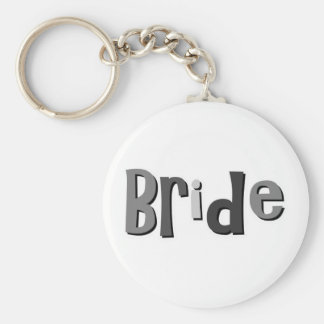 Bride Gray Basic Round Button Key Ring