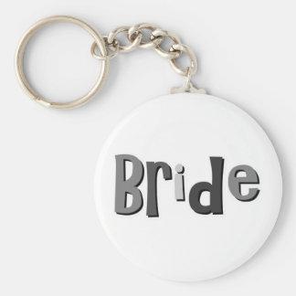 Bride Gray Basic Round Button Key Ring