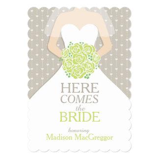 Bride green bouquet graphic bridal shower invite