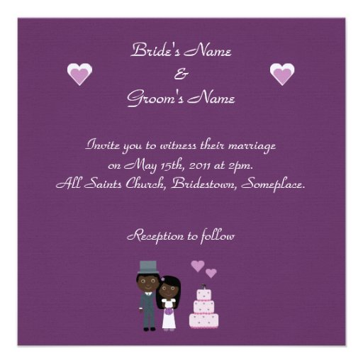 Bride & Groom & Cake Ethnic Purple Linen Wedding Custom Announcement