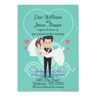 Bride Groom Carriage Heart Wedding Invitation