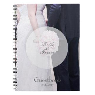 Bride & groom editable wedding guest book spiral notebooks